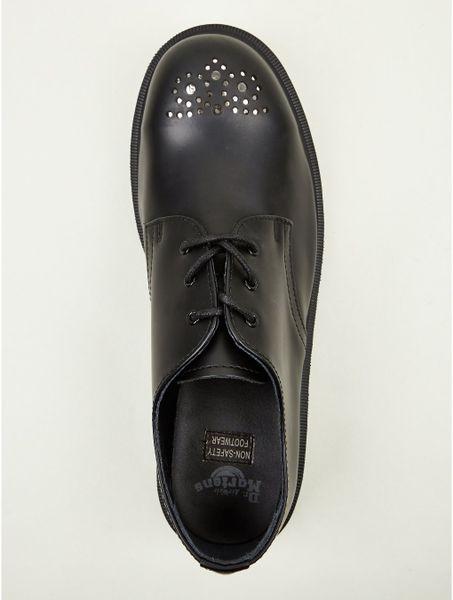 Dr. Martens Men's Fielding Appliqu  Steel Toe Wingtip Shoes in Black