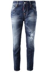 DSquared2 Distressed Denim Jean - Lyst