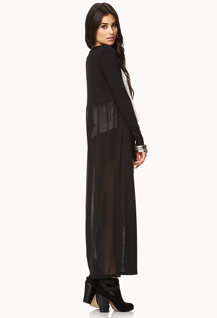 Forever 21 Chiffon Back Maxi Cardigan in Black | Lyst