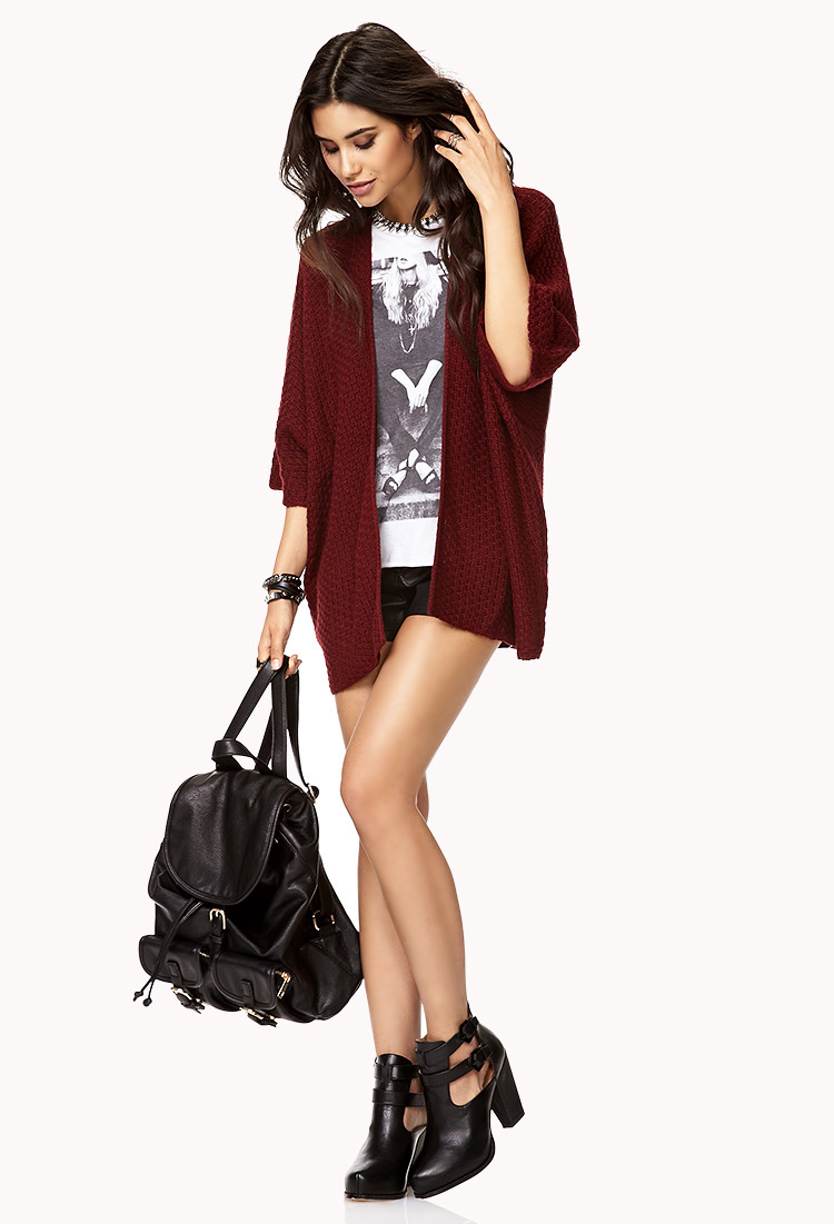 Forever 21 Open-front Cardigan in Red | Lyst