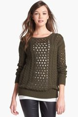 Halogen Cabled Long Sleeve Sweater - Lyst