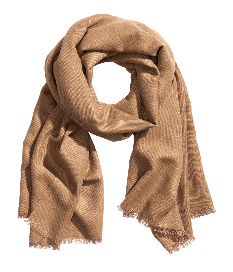 h m soft scarf in brown camel lyst