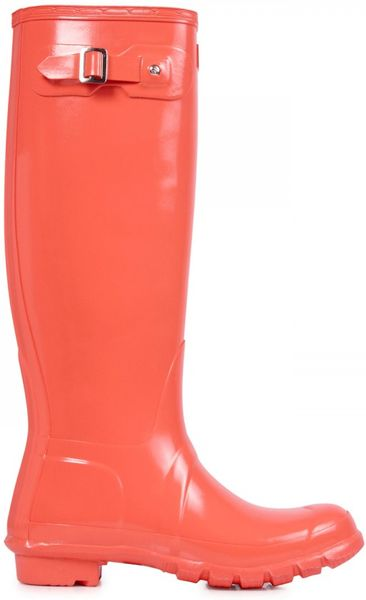 Hunter Original Wellington Boots in Pink (coral) | Lyst