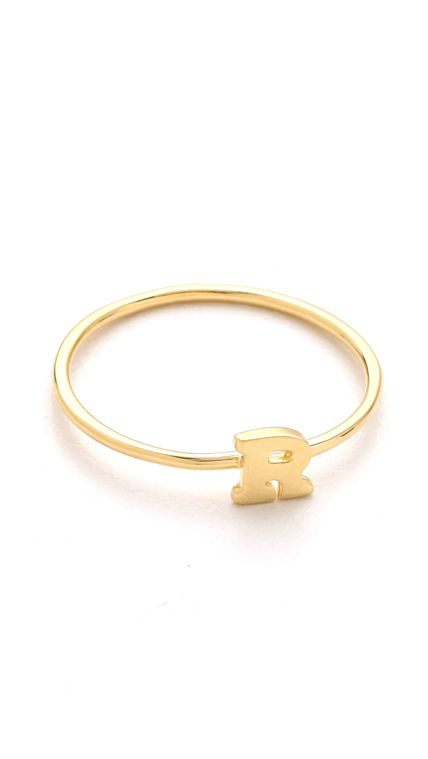 Jacquie aiche ja alphabet letter initial waif ring gold in for Gold ring models with letters