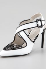 Jason Wu Peggy Patent Leather Woven Pump Whiteblack - Lyst