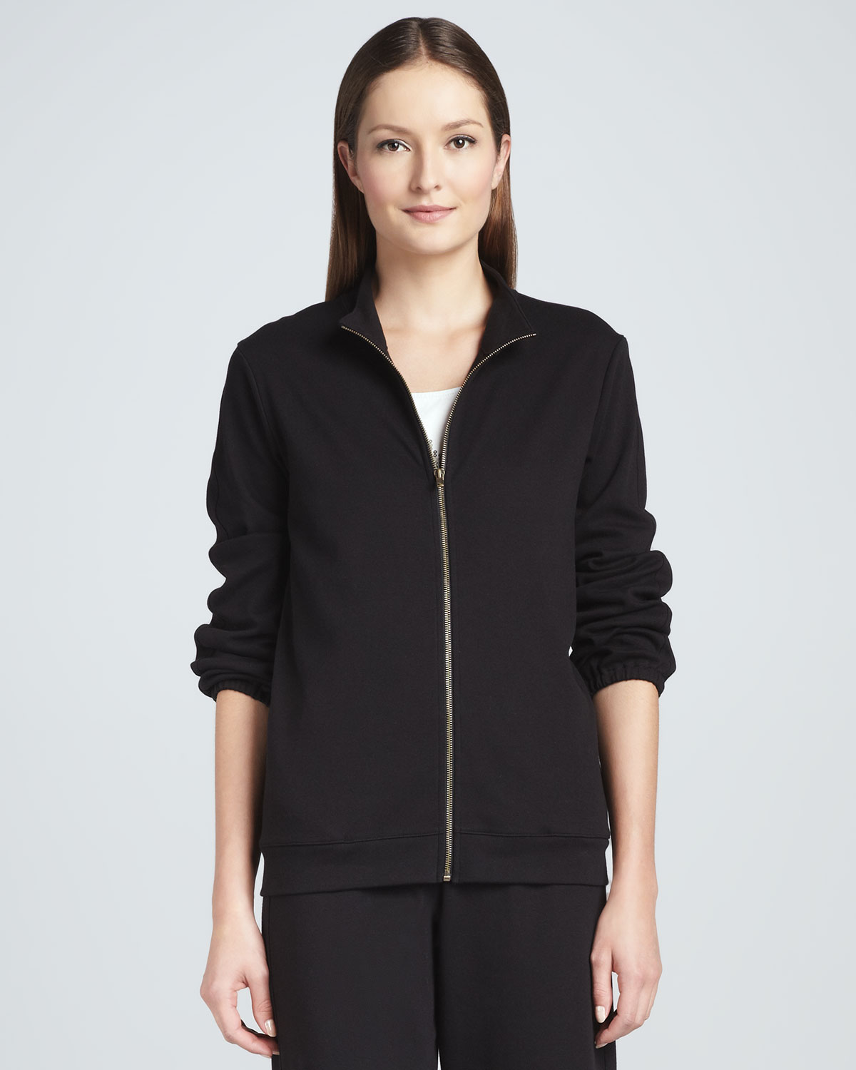 Joan Vass Interlock Stretch Zip-front Jacket In Black