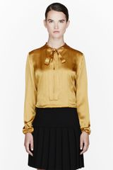 Lanvin Mustard Yellow Bow Collar Blouse - Lyst
