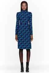 Marc By Marc Jacobs Green and Blue Etta Print Dress - Lyst
