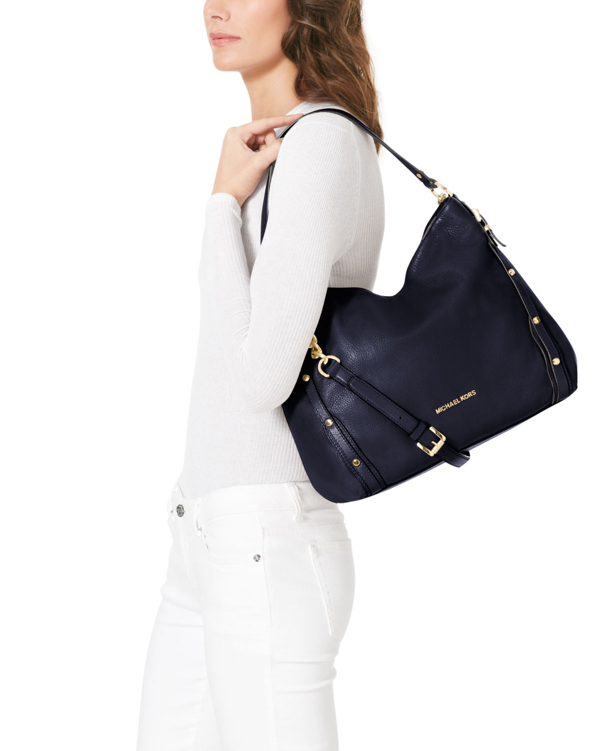 Lyst Michael Kors Large Leigh Shoulder Bag In Blue