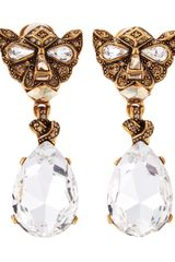 Oscar de la Renta Crystal Panther Drop Clip Earrings - Lyst