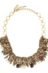 Oscar de la Renta Pearldetailed Branch Bib Necklace - Lyst
