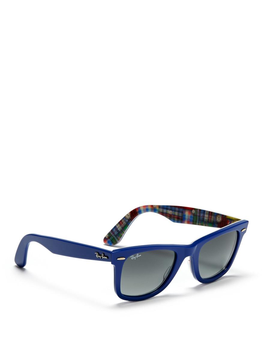 f0b4da19b0 Lyst - Ray-Ban  original Wayfarer  Patchwork Print Sunglasses in Blue