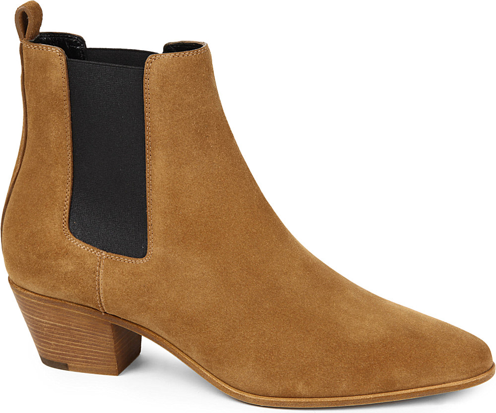 121776b810914 Saint Laurent Rock 40 Suede Chelsea Boots in Brown - Lyst