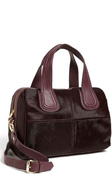 Steven By Steve Madden Calf Hair Satchel in Purple (Aubergine)