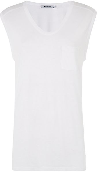 T By Alexander Wang White Muscle Tee - Lyst