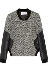 Thakoon Addition Leather-sleeved Tweed Bomber Jacket - Lyst