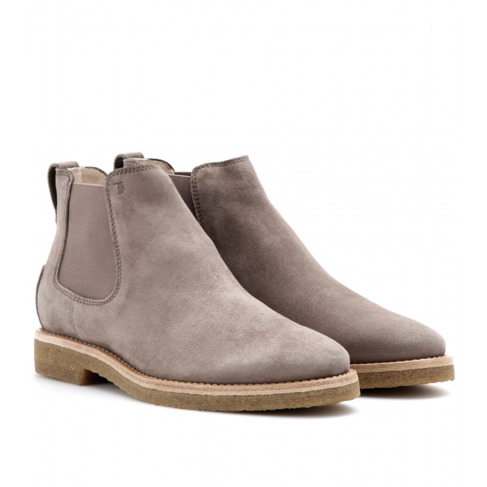 tod s suede chelsea boots in gray fango chiaro made in