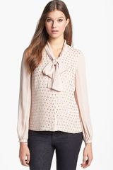Tory Burch Taliah Bow Silk Blouse - Lyst