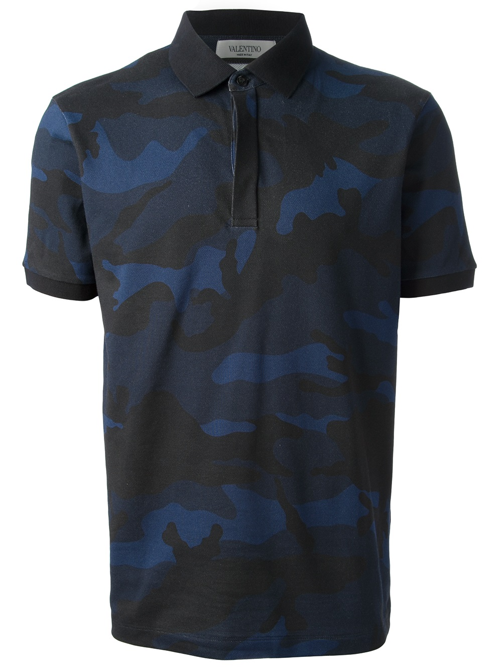 Lyst valentino camouflage polo shirt in blue for men for Camo polo shirts for men