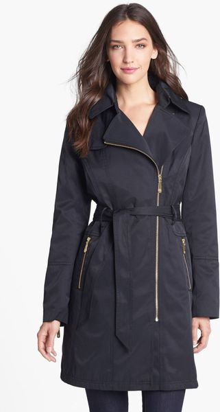 Vince Camuto Asymmetrical Zip Trench Coat With Detachable