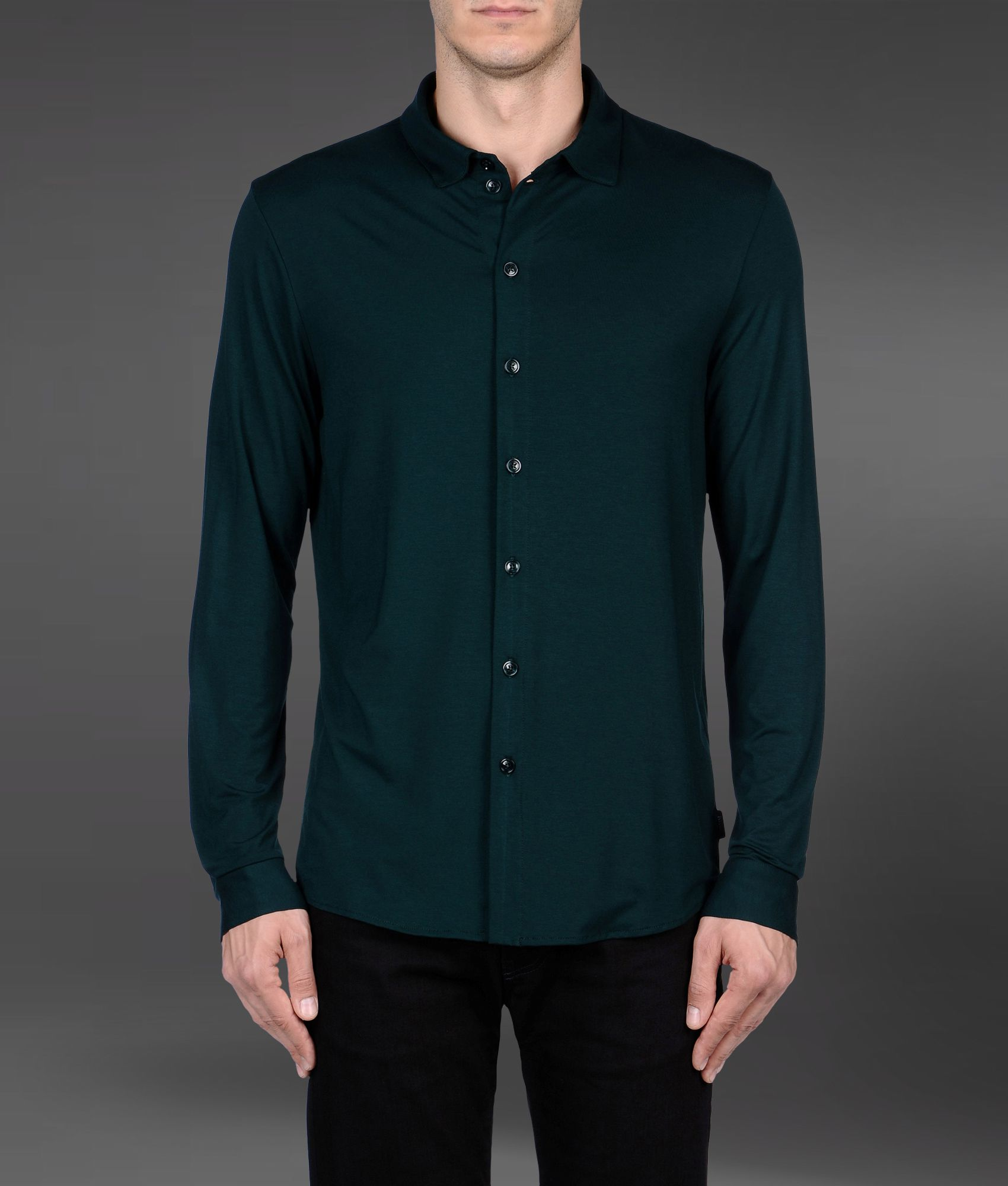 Lyst - Armani Long Sleeve Shirt in Green for Men