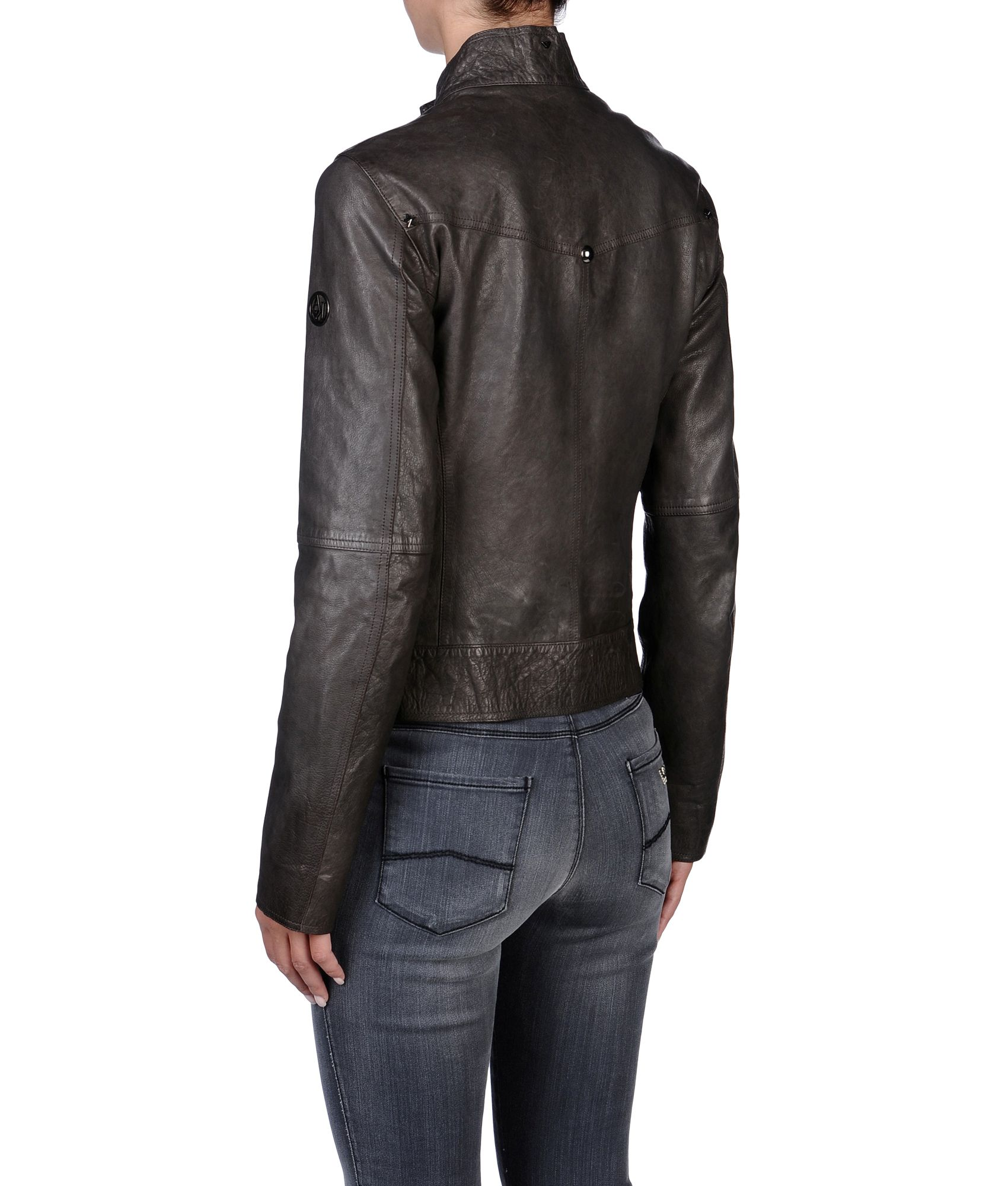 lyst armani jeans leather jacket in brown. Black Bedroom Furniture Sets. Home Design Ideas