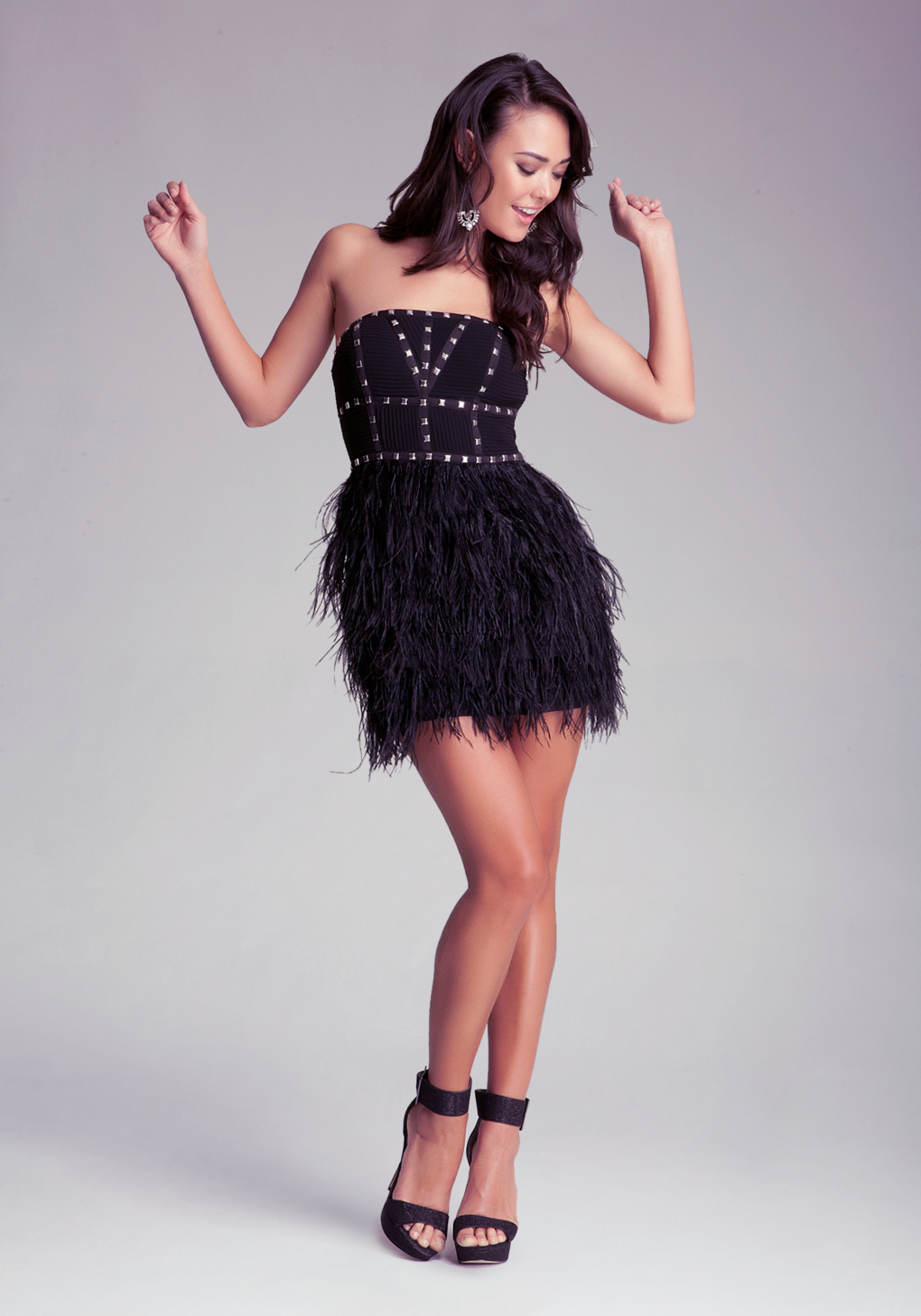 Lyst Bebe Strapless Studded Feather Dress In Black