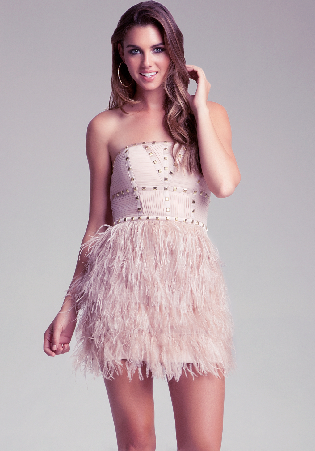 Lyst Bebe Strapless Studded Feather Dress In Pink