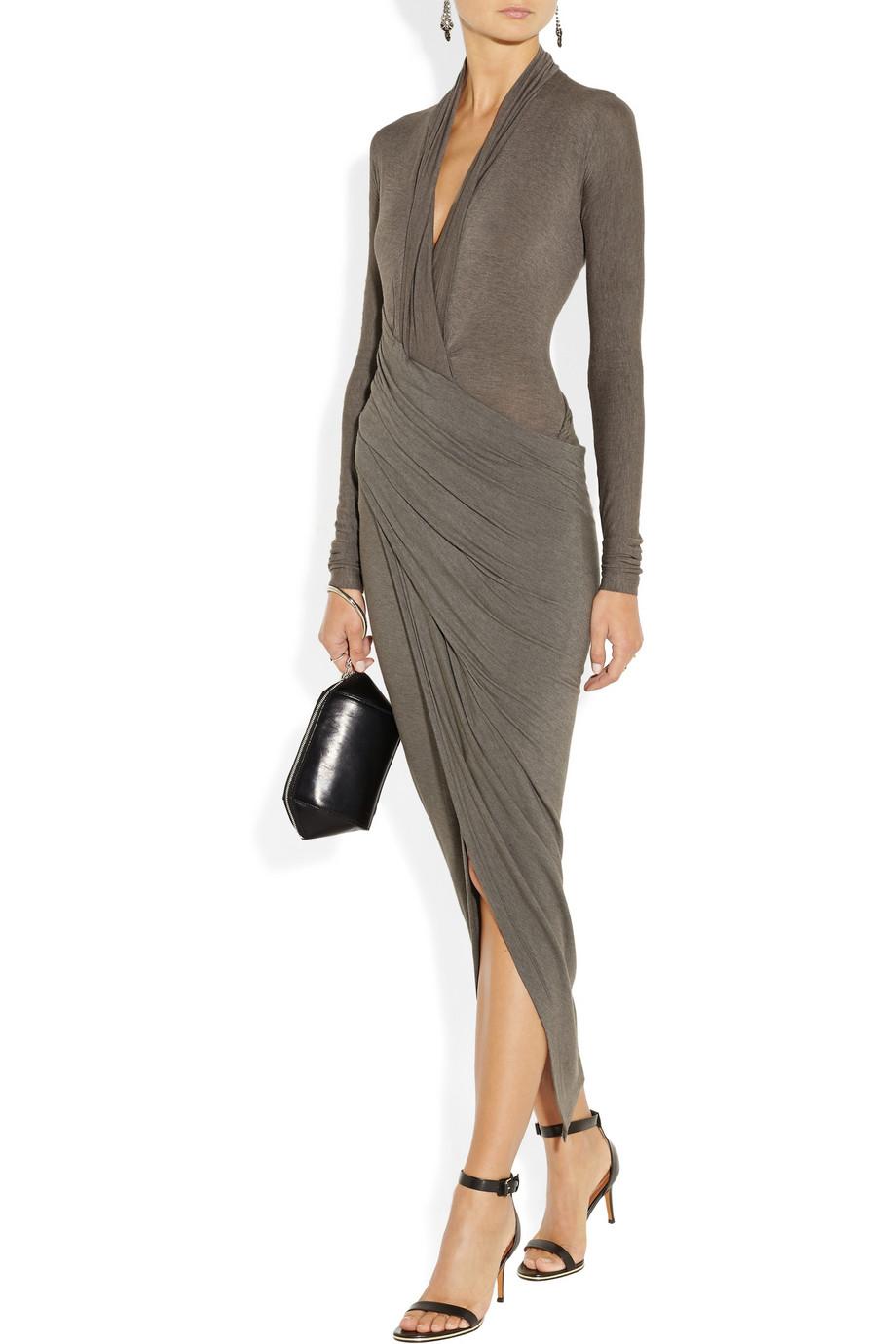 Lyst Donna Karan Draped Wrapeffect Jersey Dress In Gray