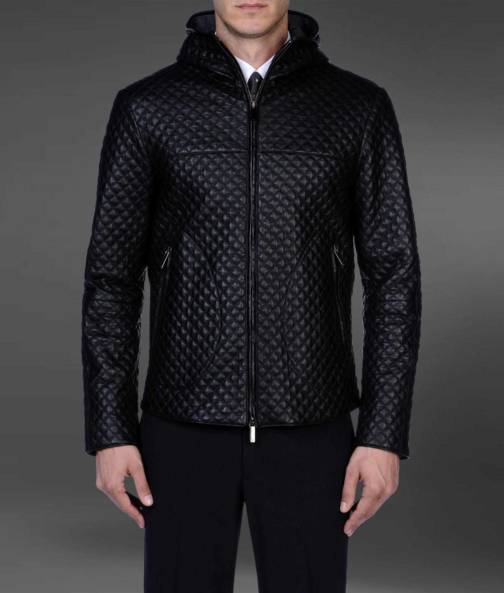 444e10de74c0 Emporio Armani Leather Jacket in Black for Men - Lyst