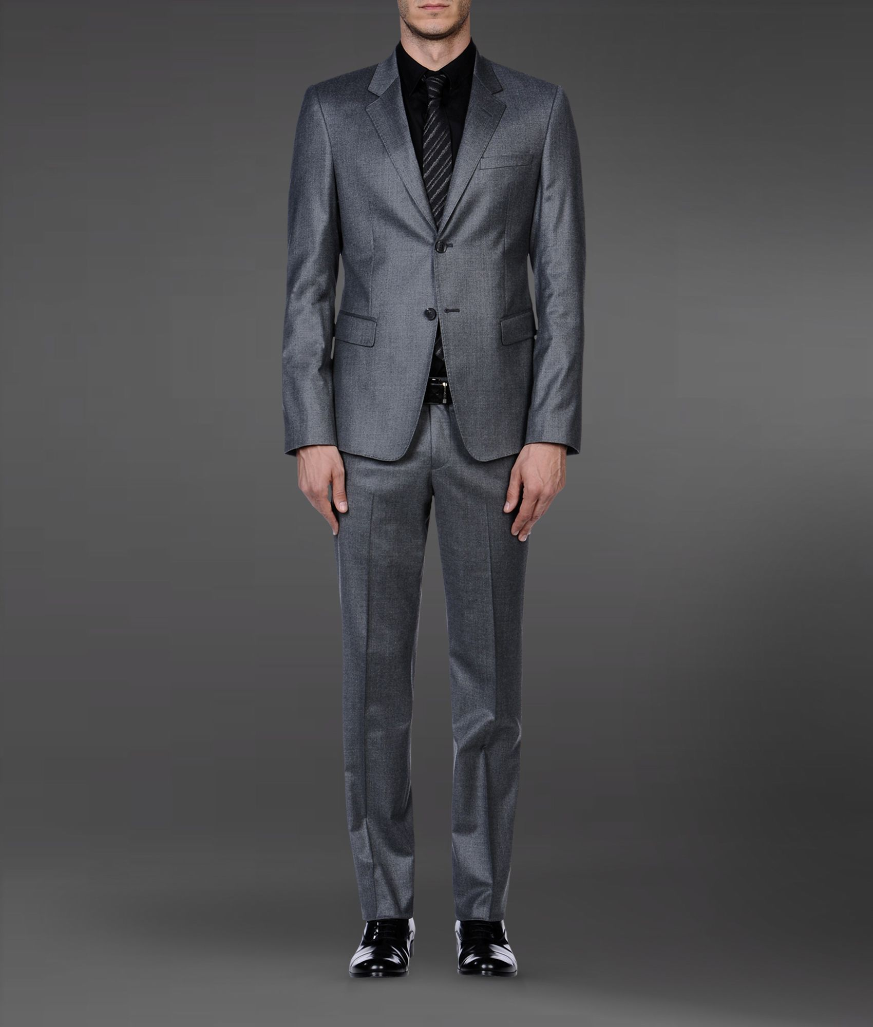 emporio armani twobutton suit in stretch wool in gray for