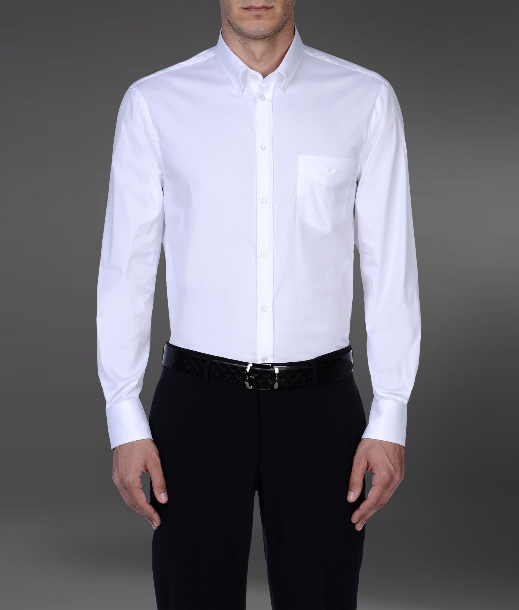 Lyst emporio armani formal shirt in white for men for Mens formal white shirts