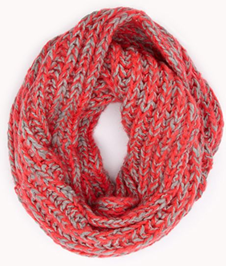 Forever 21 Duotoned Infinity Scarf in Pink (NEON PINK/GREY ...