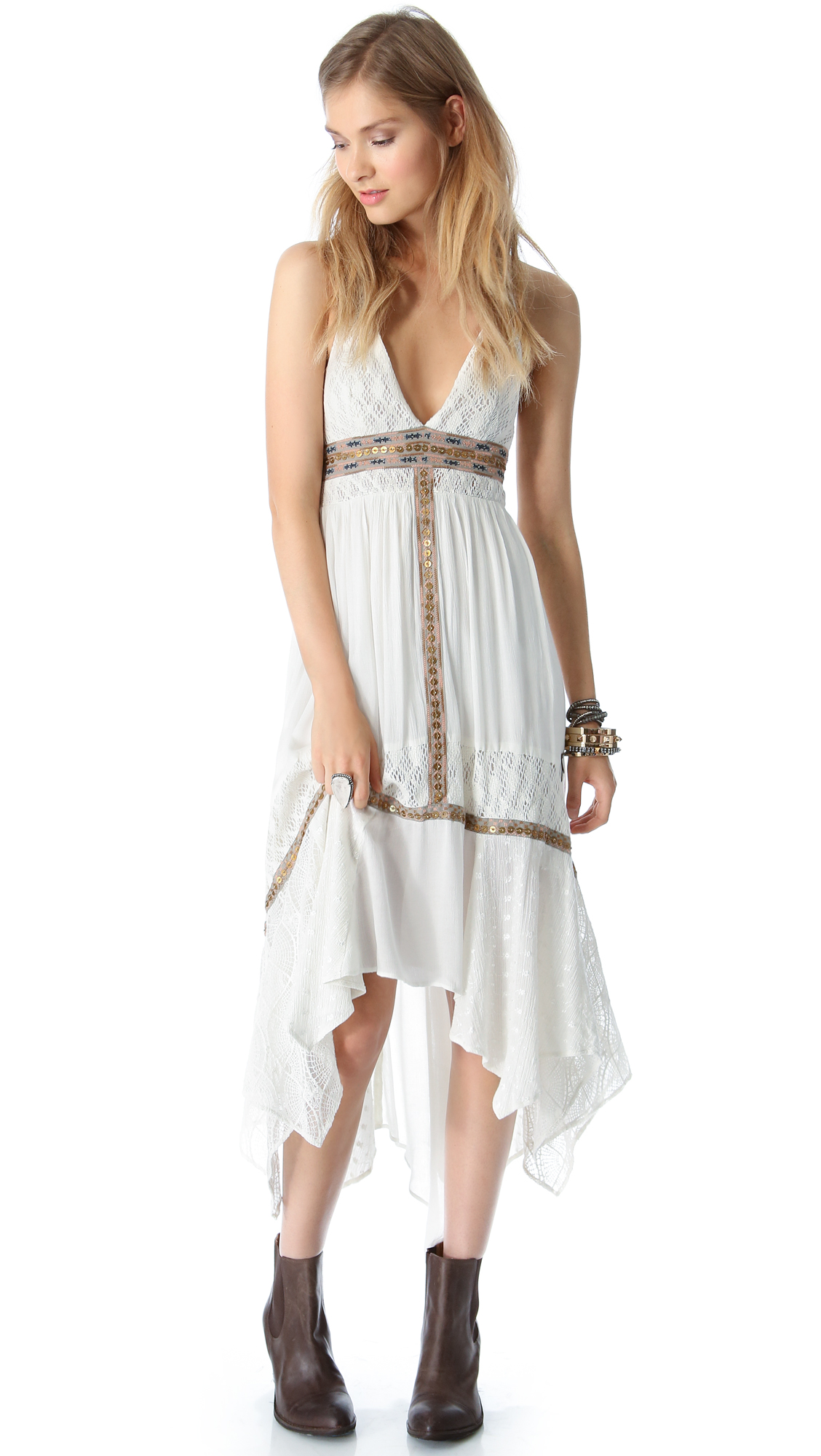 Free people Indian Summer Halter Dress in White - Lyst