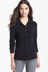 Halogen Button Front Knit Blouse - Lyst