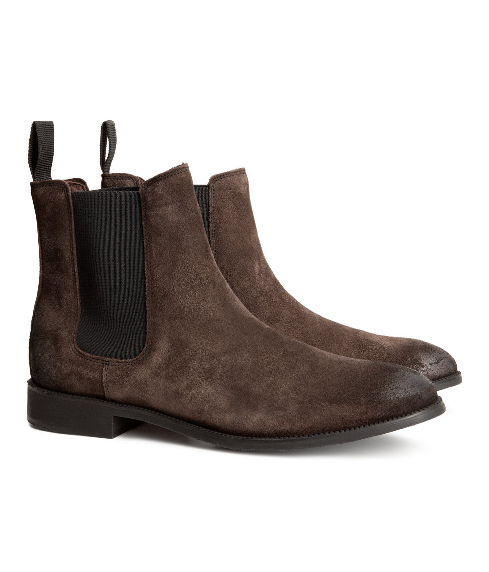 h m suede chelsea boots in brown for brown lyst