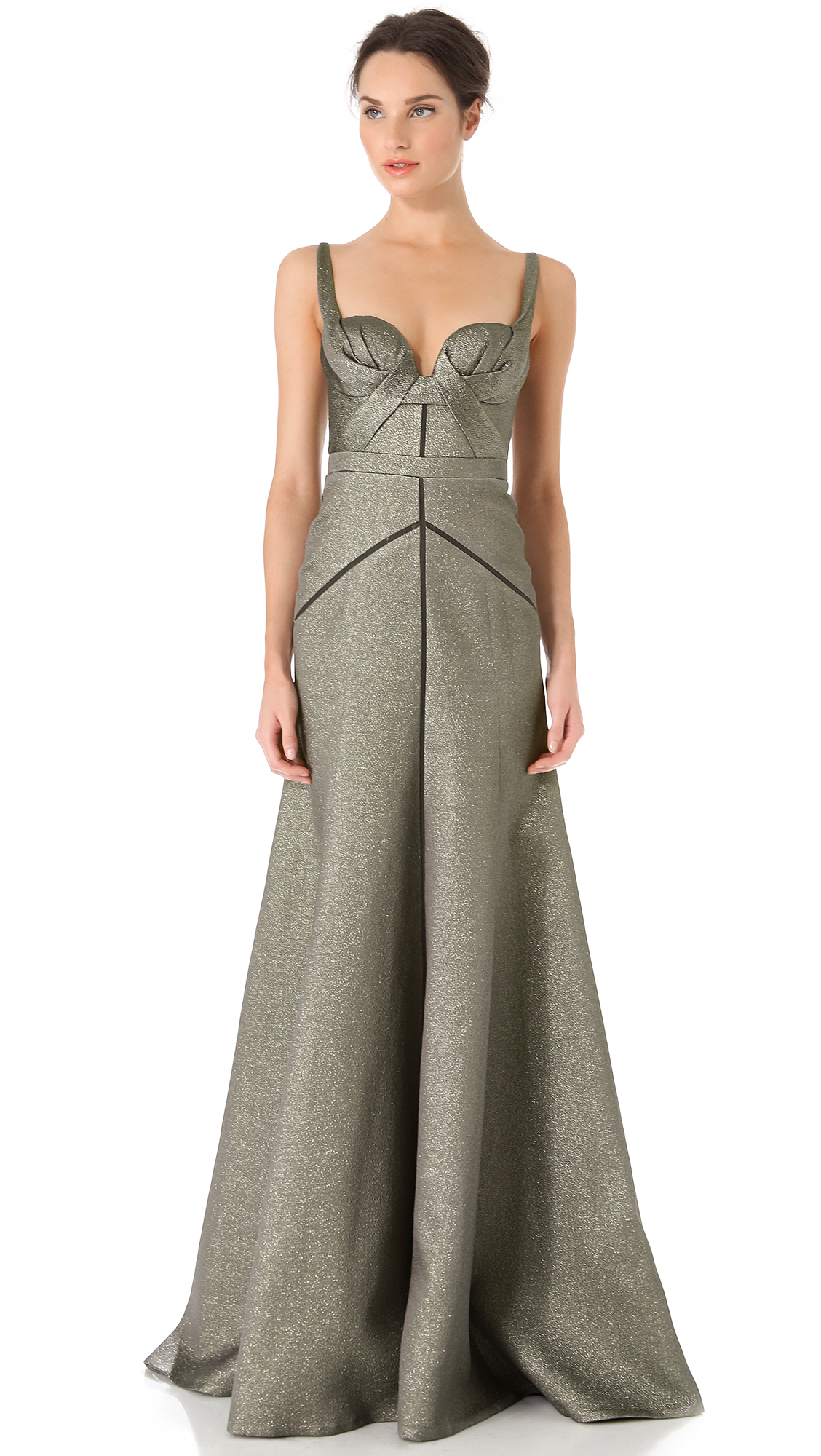 Lyst - J. Mendel Full Skirt Bustier Gown in Gray