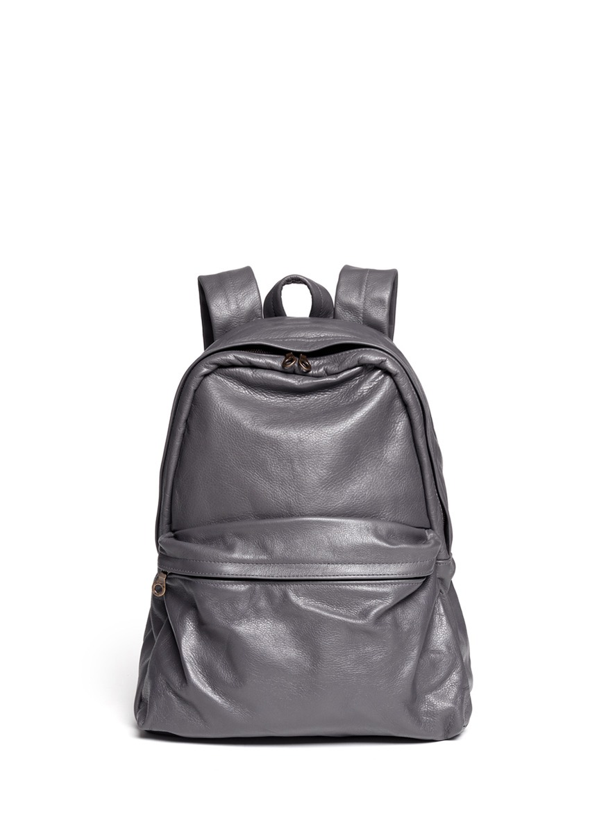 Jas mb Grey Leather Backpack in Gray for Men | Lyst