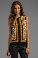 Joie Solid with Scarf Print Sakura Sleeveless Top in Black - Lyst