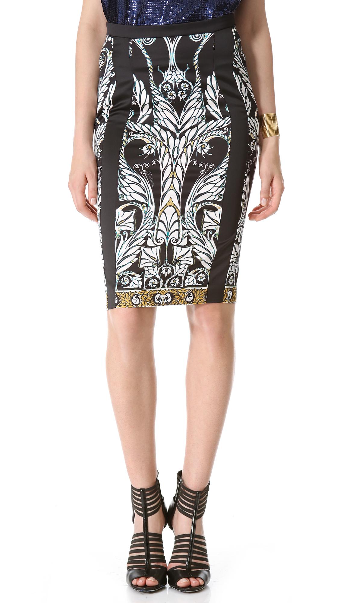 just cavalli print pencil skirt in black lyst