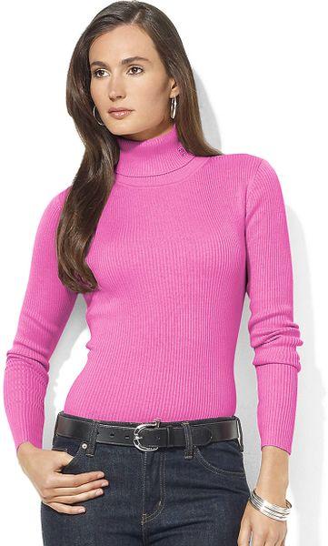 Lauren By Ralph Lauren Cotton Ribbed Turtleneck In Pink Lyst
