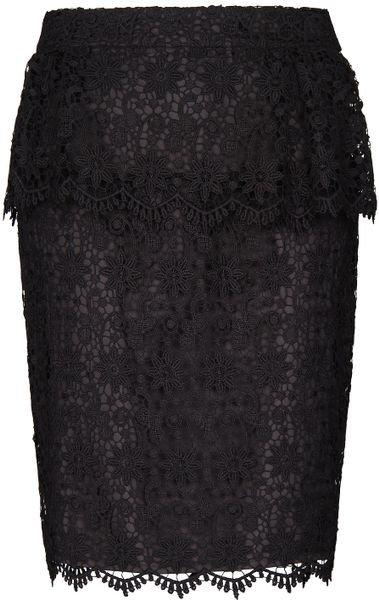 Mango Lace Peplum Skirt in Black