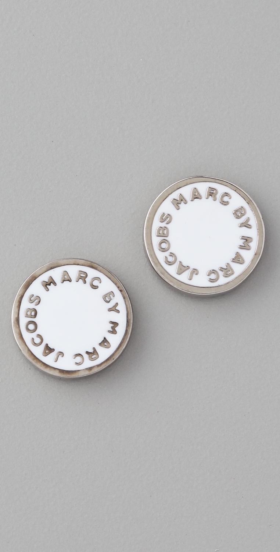 Lyst Marc By Marc Jacobs Logo Disc Stud Earrings In Metallic