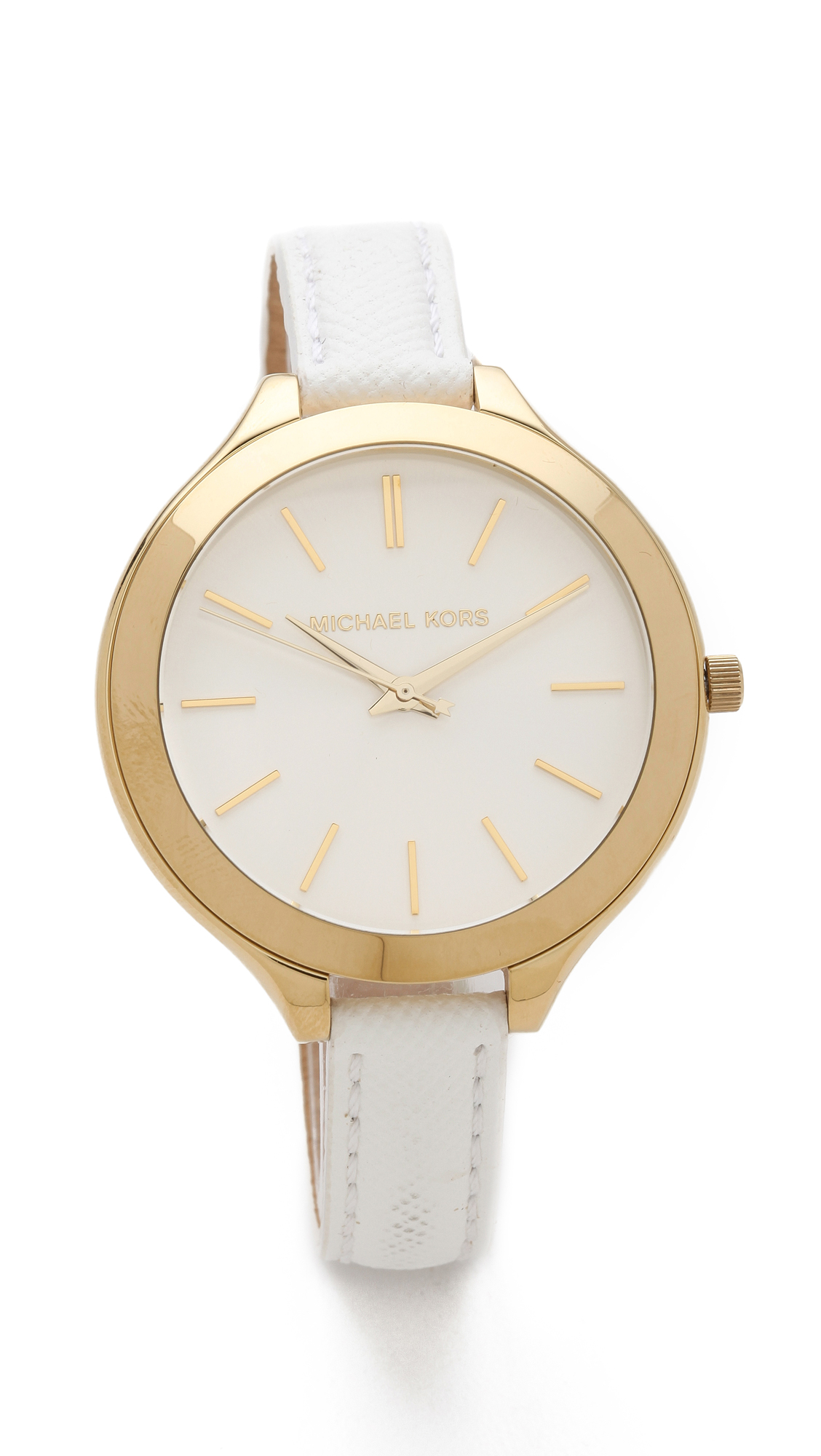 Michael kors leather slim runway watch in white lyst for Watches michael kors