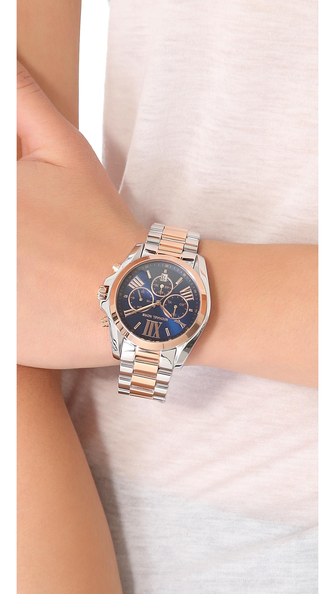 88e1af2c49ff Michael Kors Bradshaw Two Tone Watch in Metallic - Lyst
