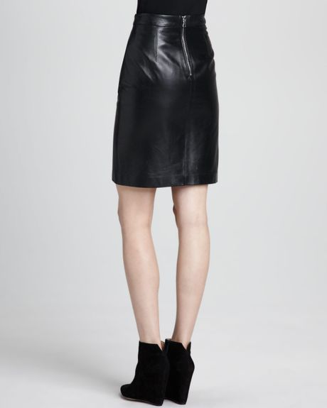 milly leather pencil skirt in black lyst