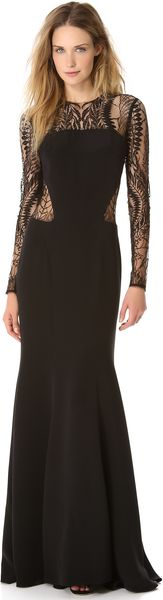 Monique Lhuillier Long Sleeve Gown with Web Lace - Lyst