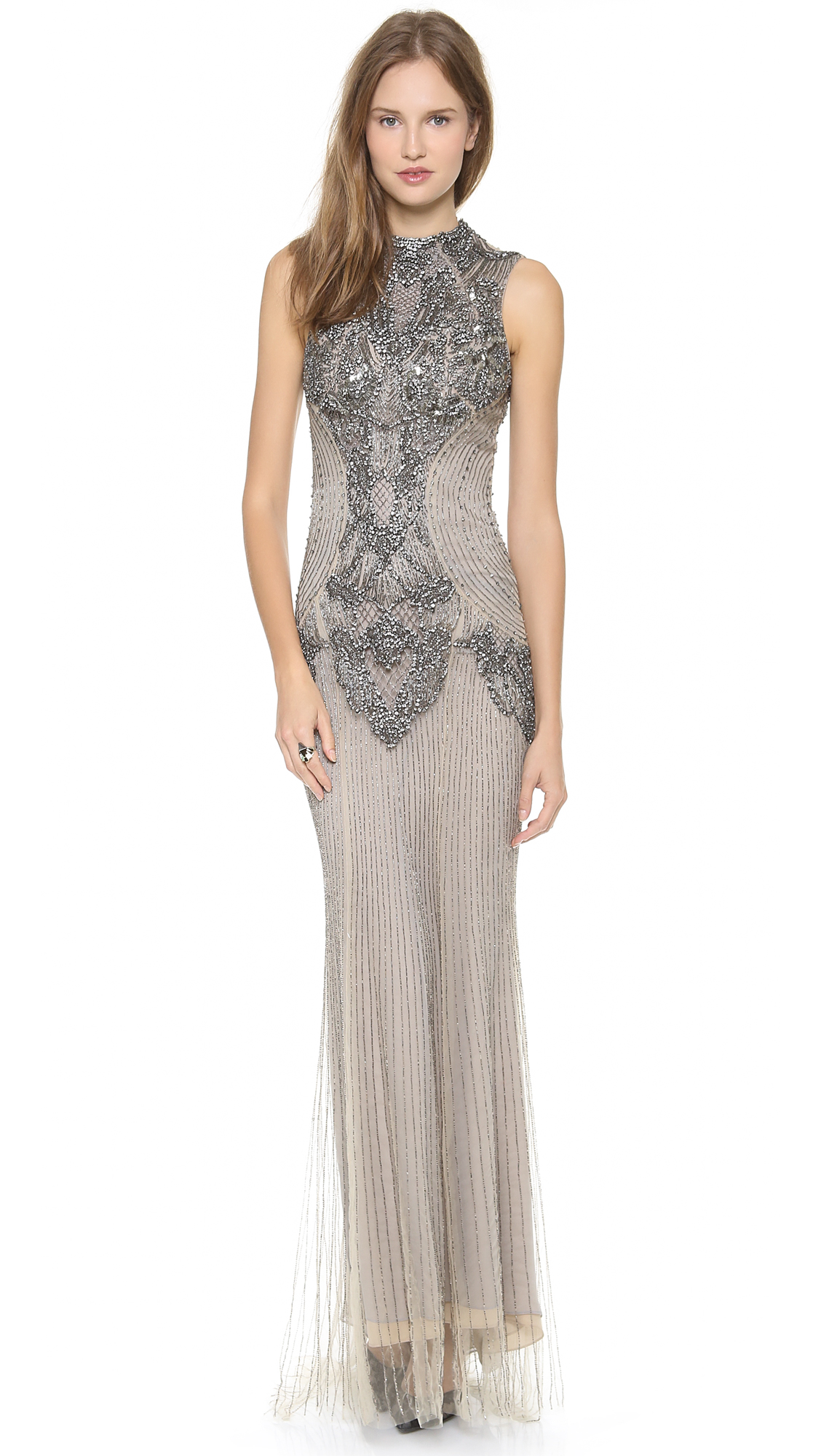 Lyst Monique Lhuillier Sleeveless Gown With High Neck In