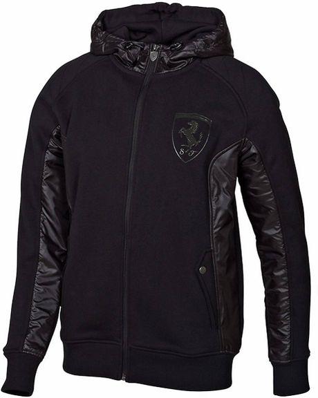puma ferrari shield hooded jacket in black for men lyst. Black Bedroom Furniture Sets. Home Design Ideas