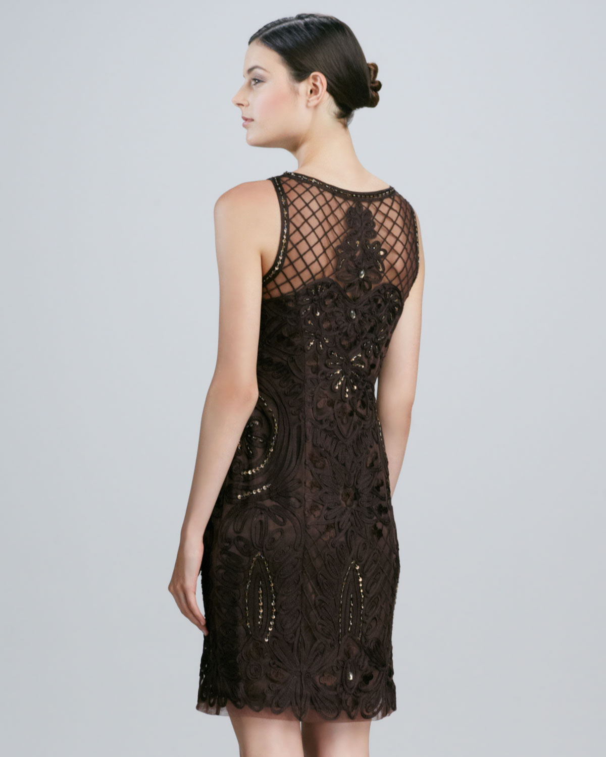 Sue Wong Sleeveless Embroidered Cocktail Dress In Black